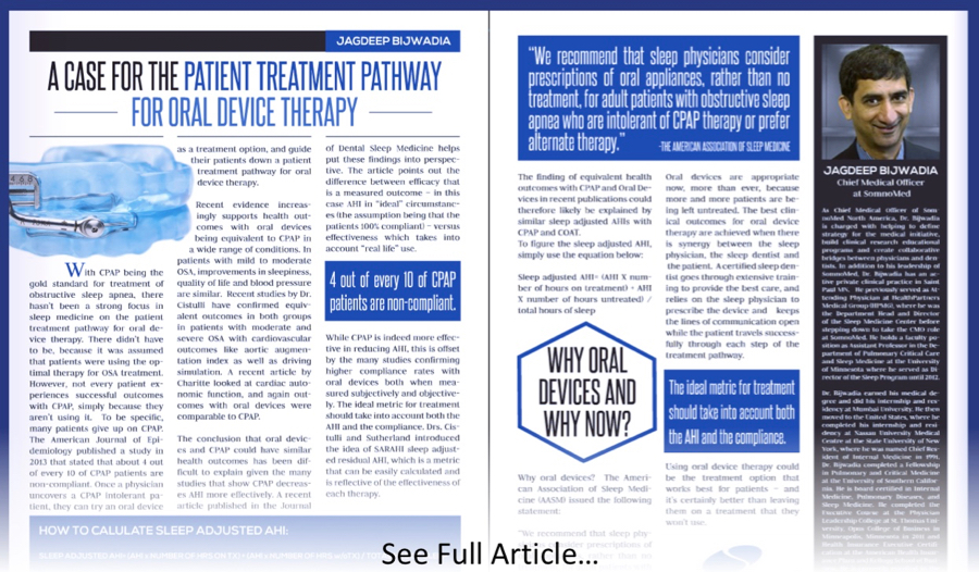 A Case For The Patient Treatment Pathway For Oral Device Therapy